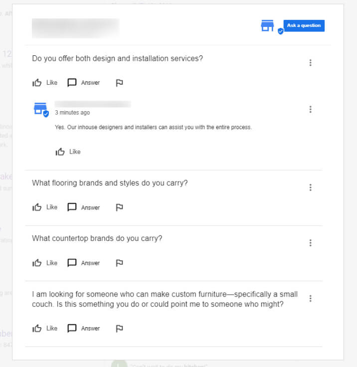 Google My Business Answers and Questions